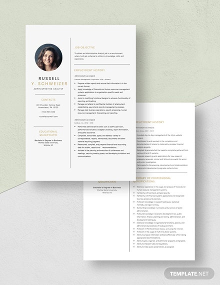 Administrative Analyst Resume Download