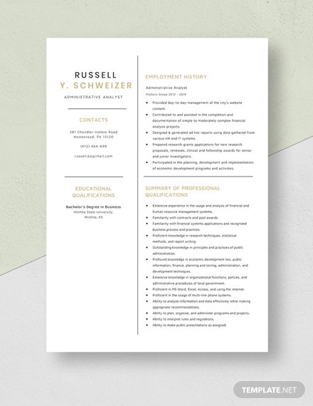 Administrative Analyst Resume Template