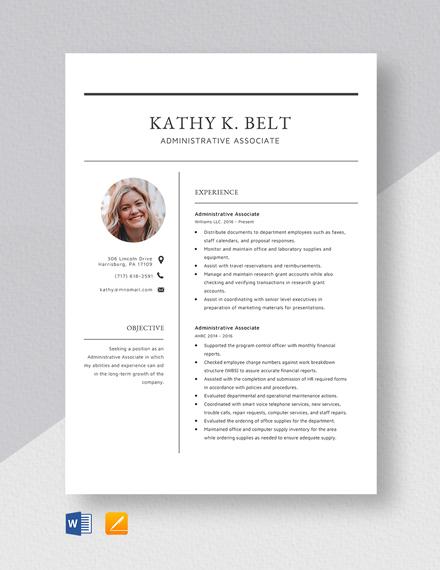 Administrative Associate Resume Template