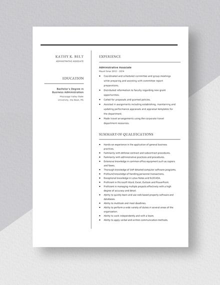 Administrative Associate Resume Download