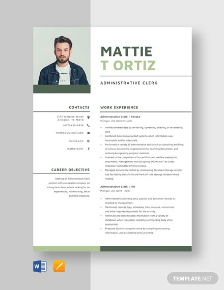 Administrative Clerk Resume Template