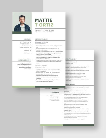 Administrative Clerk Resume Download