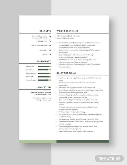 Administrative Clerk Resume Template 1