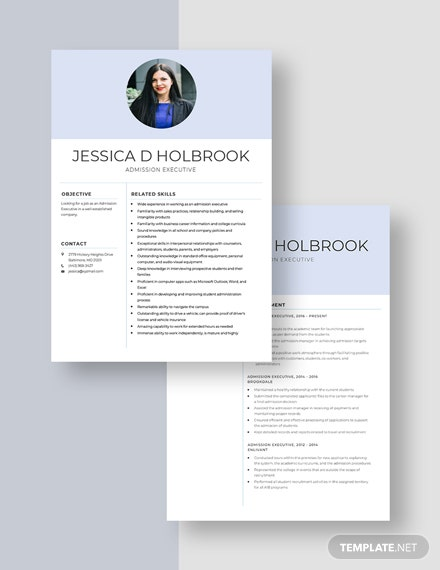Admission Executive  Resume Download