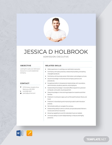 Admission Executive Resume Template