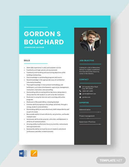 Admissions Advisor Resume Template