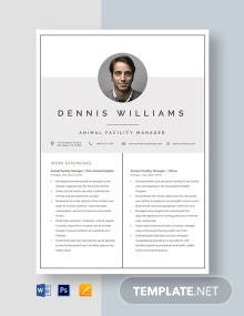 Animal Facility Manager Resume Template