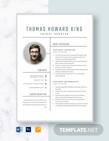 Animal Handler Resume Template