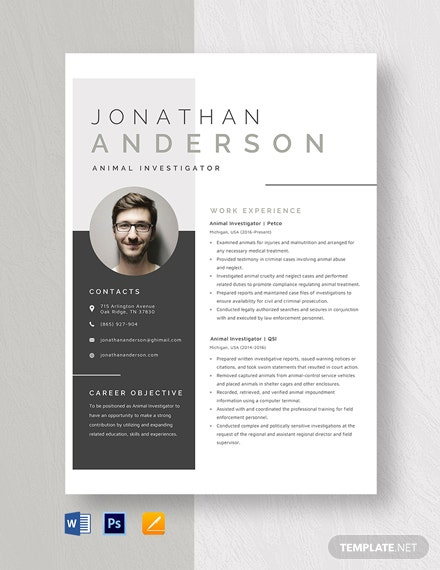 Animal Investigator Resume Template