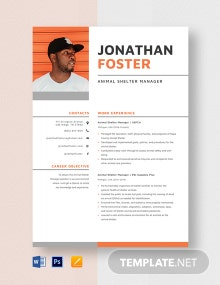Animal Shelter Manager Resume Template