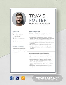 Animal Shelter Volunteer Resume Template