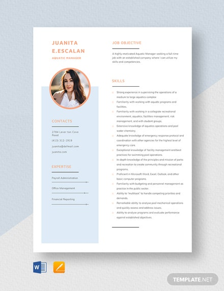 Aquatic Manager Resume  Template
