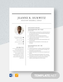 Assistant Baseball Coach Resume Template