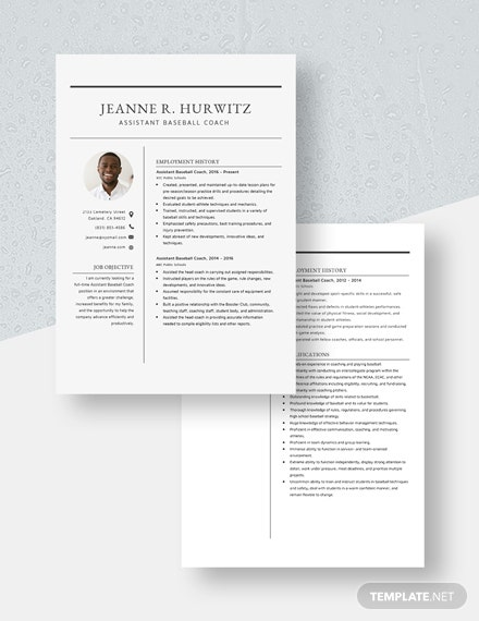 Assistant Baseball Coach Resume Download