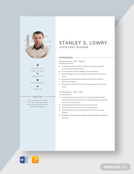Assistant Bursar Resume Template