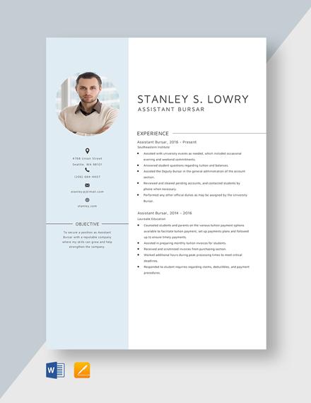 Assistant Bursar Resume Template