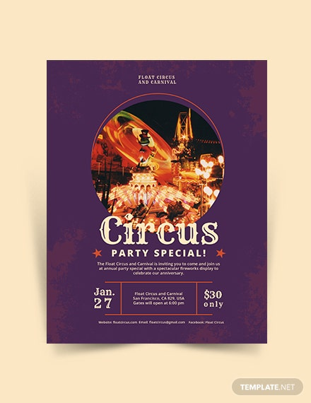Circus Party Flyer Template