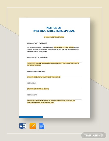 Notice of Meeting Directors Special