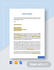 Simple Credit Memo Template