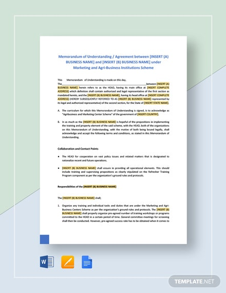 Memorandum of Understanding Format for Business Template