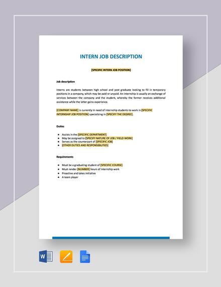 Generic Intern Job Description Template