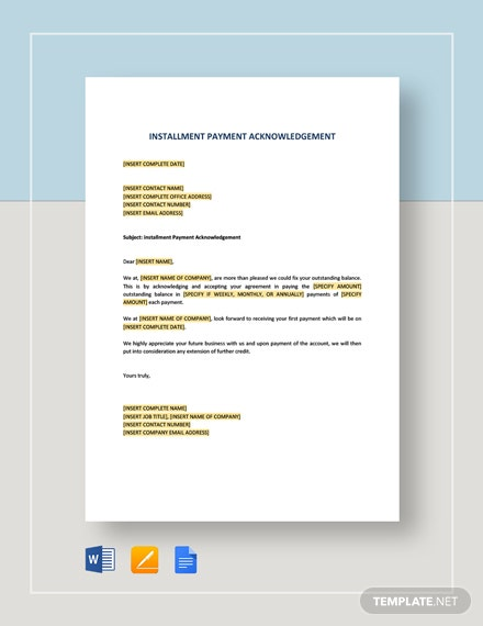 Installment Payment Acknowledgement Template