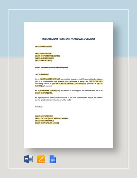 Installment Payment Acknowledgement Template