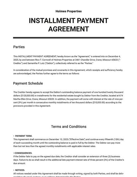 Editable Installment Payment Agreement Template
