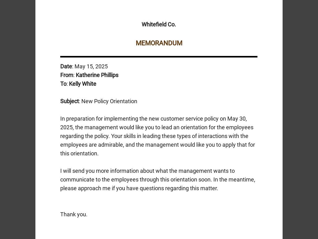 Simple Business Memo Template