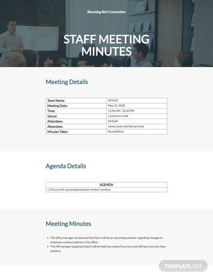 Sample Staff Meeting Minutes Template