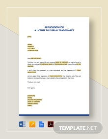 Application for a License to Display Trademarks Template