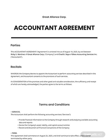 Accountant Agreement Template
