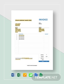 Invoice with Sales Tax Template