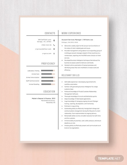 Account Services Manager Resume Template