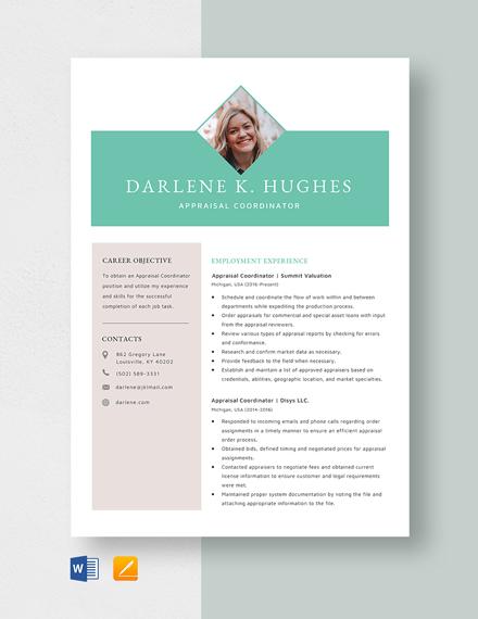 Appraisal Coordinator Resume Template