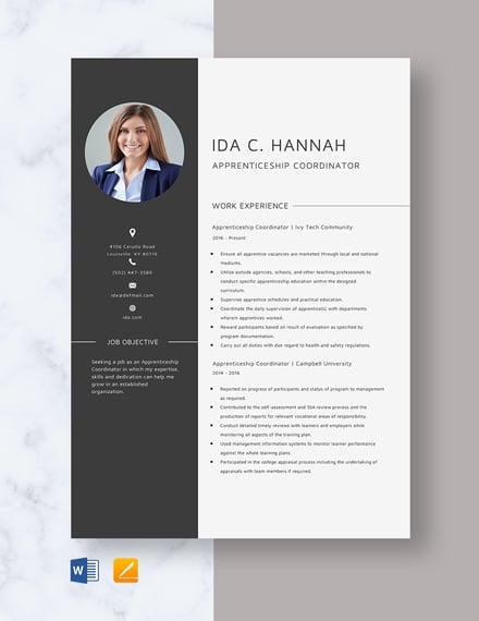 Apprenticeship Coordinator Resume Template