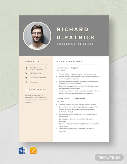 Aptitude Trainer Resume Template