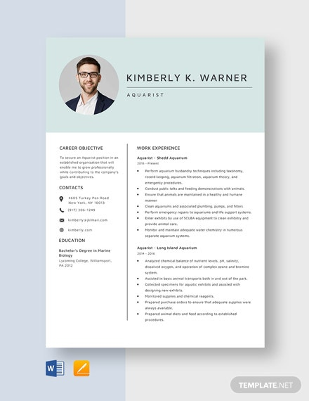 Aquarist Resume Template