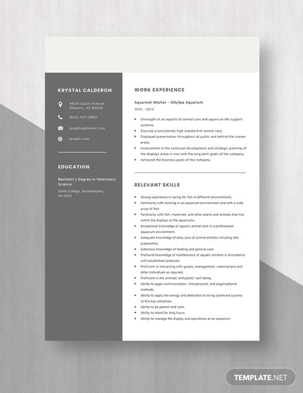 Aquarium Worker Resume Template