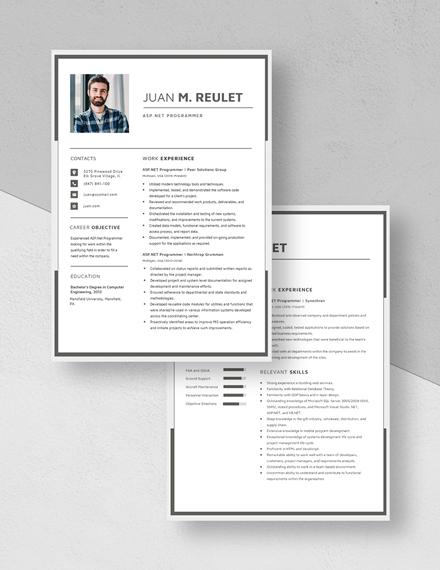 ASPNet Programmer Resume Download