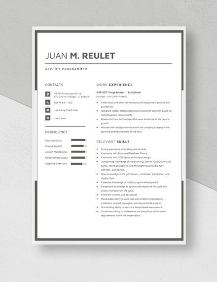 ASPNet Programmer Resume Template