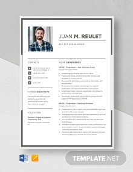 ASP.Net Programmer Resume Template
