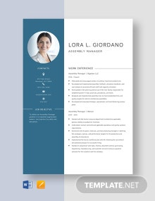 Assembly Manager Resume Template