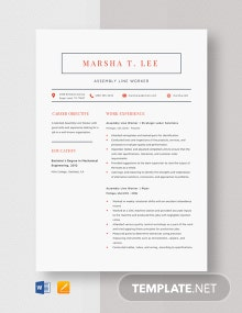 Assembly Line Worker Resume Template