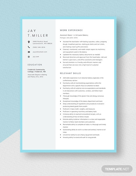 Assistant Baker Resume Assistant Banker Template