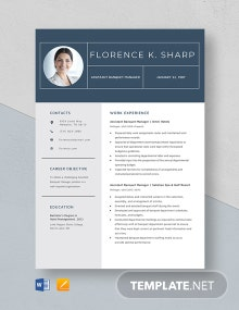 Assistant Banquet Manager Resume Template