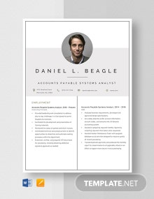 Account Payable System Analyst Resume Template