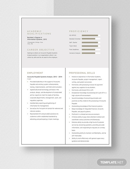 Account Payable System Analyst Resume Template: Download