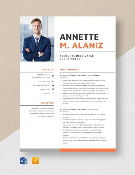 Account Receivable Coordinator Resume Template