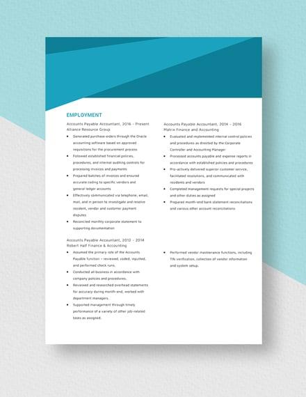 Accounts Payable Accountant Resume Download
